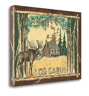 Loon Peak 'Log Cabin Moose' Acrylic Painting Print on Wrapped Canvas; 24'' H x 32'' W