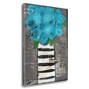 Latitude Run 'Blue Flowers' Acrylic Painting Print on Wrapped Canvas; 28'' H x 22'' W