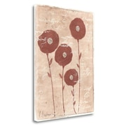 Red Barrel Studio 'Metallic Ruby Flowers' Acrylic Painting Print on Wrapped Canvas; 29'' H x 21'' W