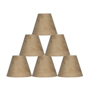 Ebern Designs 9 Piece 6'' Suede Empire Lamp Shade (Set of 9); Tan