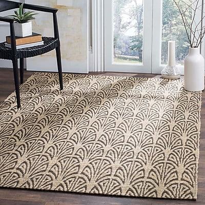 Highland Dunes Abia Hand-Woven Light Beige Area Rug; Rectangle 5' x 8'
