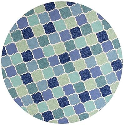 Highland Dunes Boornazian Hooked Wool Blue Indoor/Outdoor Area Rug; Round 7'6''