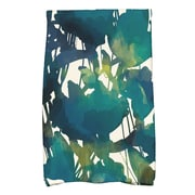 East Urban Home Watercolor Floral Hand Towel; Teal