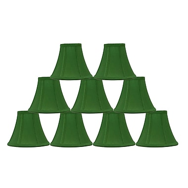 Mercer41 6'' Silk Bell Lamp Shade (Set of 9); Kelly Green