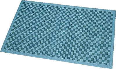 Evideco Cross Twill Checkerboard Bamboo Bath Rug; Turquoise Blue