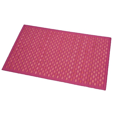Evideco Cross Twill Checkerboard Bamboo Bath Rug; Pink