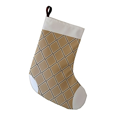 The Holiday Aisle Holiday Wishes Diamond Dots Decorative Holiday Stocking; Taupe