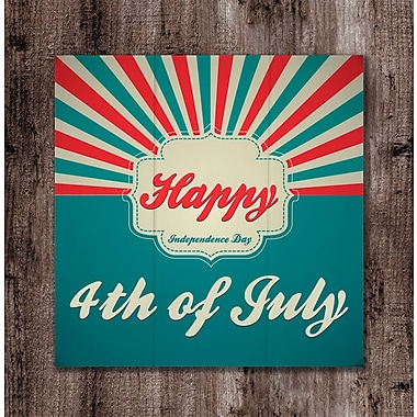 The Holiday Aisle 'Happy 4th of July Sunburst' Textual Art on Wood