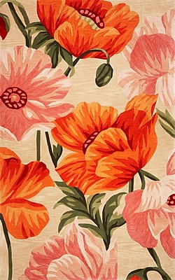 Darby Home Co Lovejoy Hand-Tufted Wool Sand/Orange Tulips Area Rug