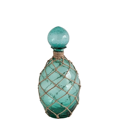 Longshore Tides Coastal Glass Decorative Bottle; Small