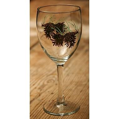 Loon Peak Brooks Pine Cone 15 oz. All Purpose Wine Glass (Set of 4)