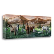 Loon Peak 'Horses Still' Print on Wrapped Canvas; 13'' H x 39'' W