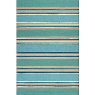 Bayou Breeze Affric Stripes Hooked Ocean Indoor/Outdoor Area Rug; 5' x 7'6''