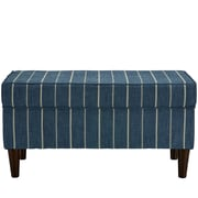 Breakwater Bay Evalyn Traditional Cotton Upholstered Storage Bedroom Bench; Indigo