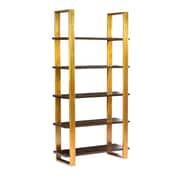 Everly Quinn Bertram Modern 5 Tier Acacia Wood 78'' Etagere Bookcase
