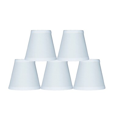 Fleur De Lis Living 5'' Cotton Empire Clip-on Candelabra Shade (Set of 5); Off White