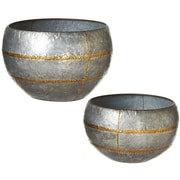 CBK Outdoor Living Oversized Galvanized 2 Piece Cachepot Set