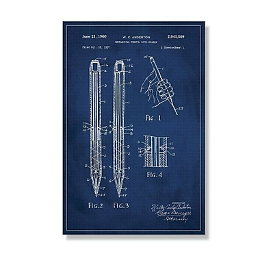 17 Stories 'Mechanical Pencil Patent' Graphic Art Print on Canvas; 24'' H x 16'' W