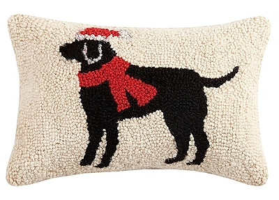 The Holiday Aisle Christmas Lab Hook Wool Lumbar Pillow