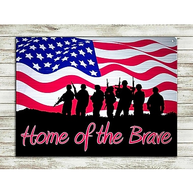 The Holiday Aisle 'Home of the Brave' Graphic Art Print on Metal