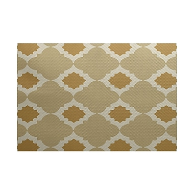 Varick Gallery McGuinness Geometric Print Gold Indoor/Outdoor Area Rug; 2' x 3'