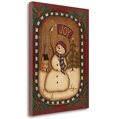 The Holiday Aisle 'Joy Snowman' Acrylic Painting Print on Wrapped Canvas; 26'' H x 20'' W