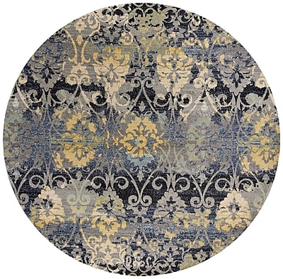 Bungalow Rose Curtice Gray Grace Area Rug; Round 7'10''