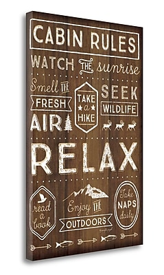 Loon Peak Cabin Rules' Textual Art on Wrapped Canvas; 36'' H x 24'' W
