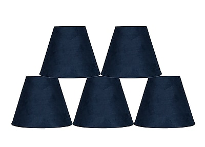 Ebern Designs 5 Piece 6'' Suede Empire Lamp Shade (Set of 5); Navy Blue