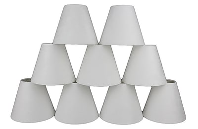 Ebern Designs 9 Piece 6'' Suede Empire Lamp Shade (Set of 9); Off-White