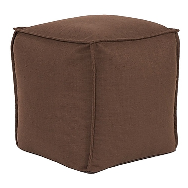 Highland Dunes Vena Square Pouf Sterling Ottoman; Chocolate