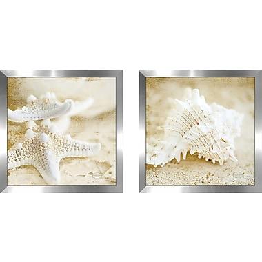 Highland Dunes 'Golden Seashore Stars' 2 Piece Framed Photographic Print Set on Glass