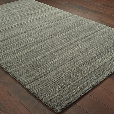 Gracie Oaks Alanna Hand-Tufted Wool Charcoal Area Rug; 5' X 8'
