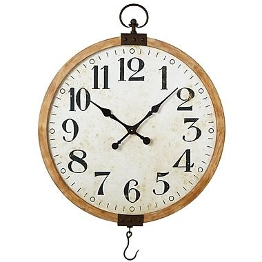 Gracie Oaks Oversized Guerin Wood Framed 28.88'' Wall Clock