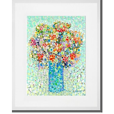 Latitude Run 'Floral Bouquet Sage' Framed Acrylic Painting Print; White