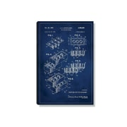 17 Stories 'Lego Patent' Graphic Art Print on Wood in Blue; 18'' H x 12'' W