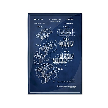 17 Stories 'Lego Patent' Graphic Art Print on Metal in Blue; 24'' H x 16'' W