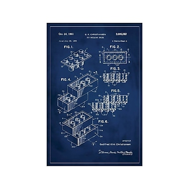 17 Stories 'Lego Patent' Graphic Art Print in Blue; 24'' H x 16'' W