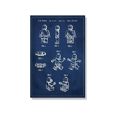 17 Stories 'Lego Man Patent' Graphic Art Print on Canvas in Blue; 24'' H x 16'' W