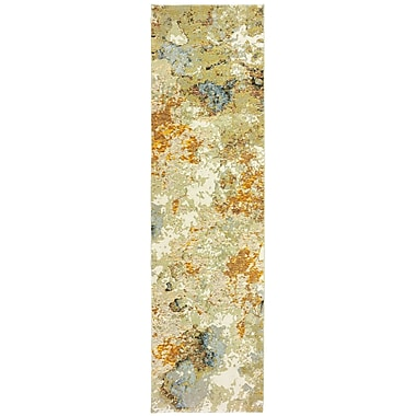 Williston Forge Knox Marble Gold/Beige Area Rug; Runner 2'3'' x 8'