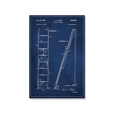 17 Stories 'Ladder Patent' Graphic Art Print on Canvas in Blue; 36'' H x 24'' W