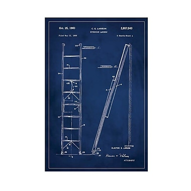 17 Stories 'Ladder Patent' Graphic Art Print in Blue; 18'' H x 12'' W