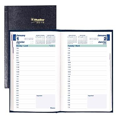 Blueline® – Agenda quotidien 2018, 8 po x 5 po, couverture rigide, reliure parfaite, bleu, bilingue