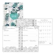 Blueline® – Agenda mensuel/hebdomadaire à colorier DoodlePlan™ 2018, 8 po x 5 po, motif Botanica, bilingue