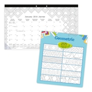 "Blueline® 2018 Monthly Colouring Desk Pad Calendar, Bilingual, Geometric, 17-3/4"" x 10-7/8!"