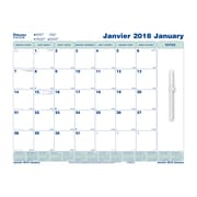 Blueline® - Calendrier mural 2018, collement électrostatique, 17 po x 22 po, bilingue