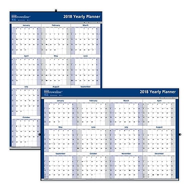 Blueline  Yearly Wall Calendar English  Staples