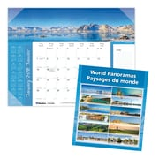 "Blueline® 2018 Monthly Desk Pad Calendar, 22"" x 17"", World Panoramas, Bilingual"