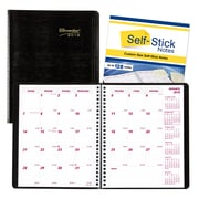 "Brownline® 2018 Planner Plus Monthly Planner, 8-7/8"" x 7-1/8"", Black, English"