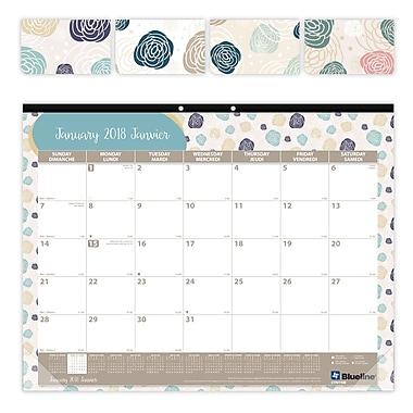Blueline® – Calendrier sous-main mensuel 2018, motif bégonia, bilingue, 22 po x 17 po